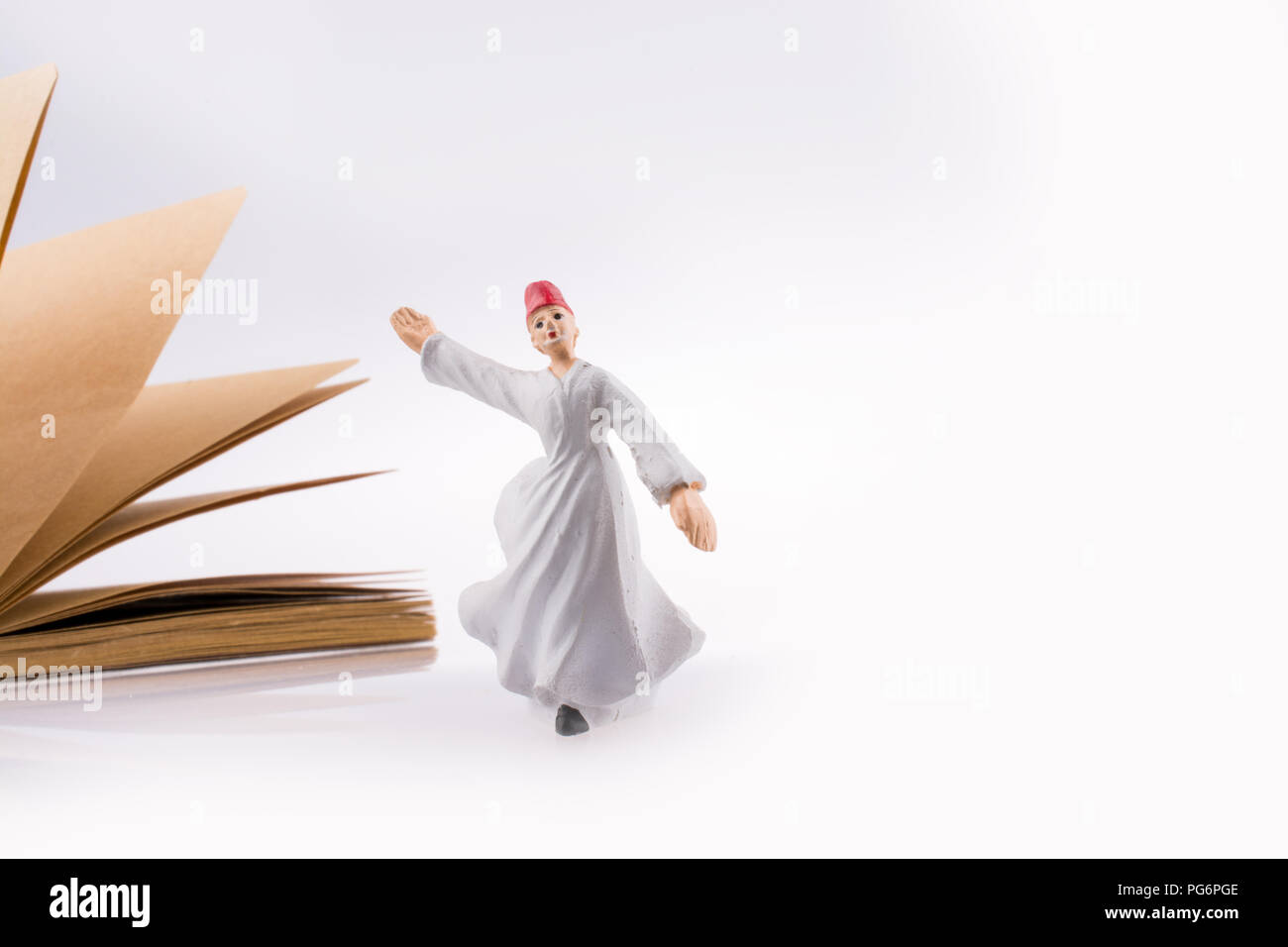 Sufi Dervish on a notebook on white background - Stock Image