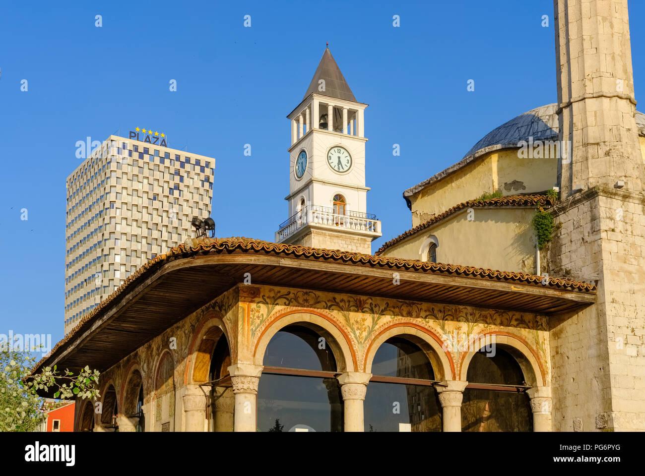 Albania, Tirana, TID Tower, Clock Tower, Et'hem Bey Mosque - Stock Image