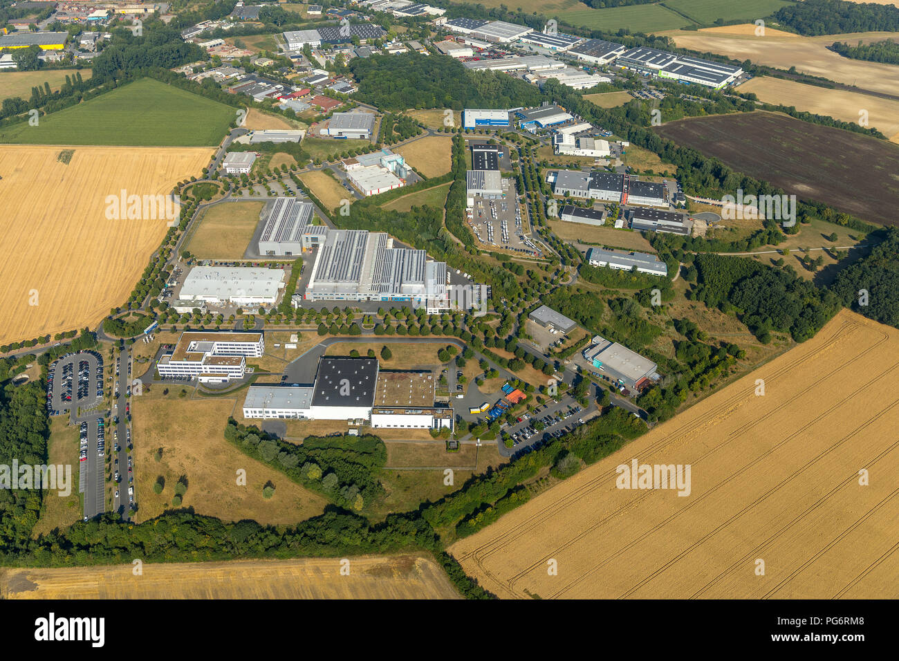 Natural and industrial park Olfetal, LR Health & Beauty Systems GmbH, Ahlen, Ruhr aeria, Nordrhein-Westfalen, Germany, DEU, Europe, aerial view, birds - Stock Image