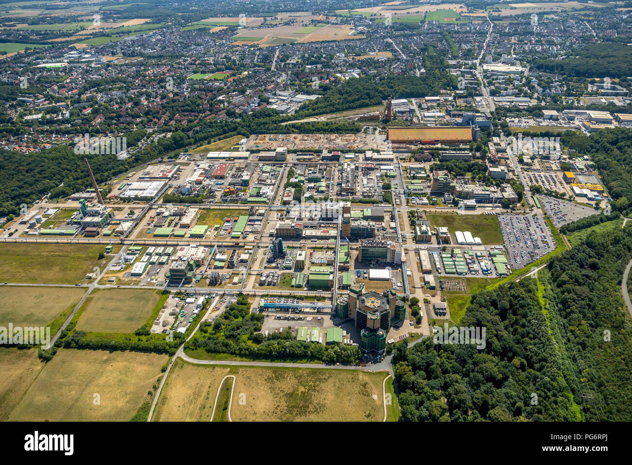 Bayer AG, formerly Scheringwerk Bergkamen, Huntsman Advanced Materials, Holzkontor Bergkamen GmbH & Co. KG, Bergkamen, Ruhr area, North Rhine-Westphal - Stock Image