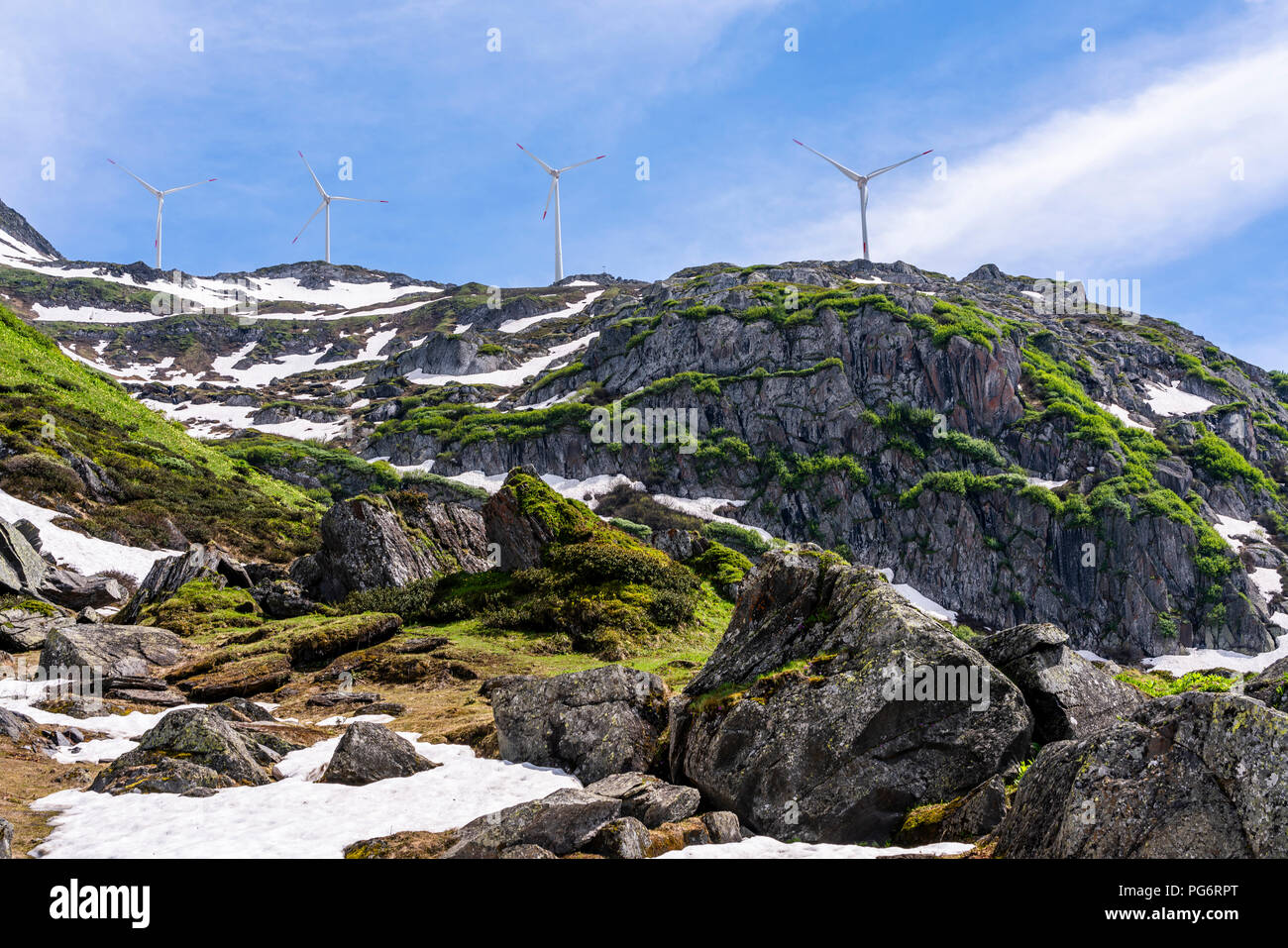 Switzerland, Valais, wind wheels at Nufenen-Pass - Stock Image