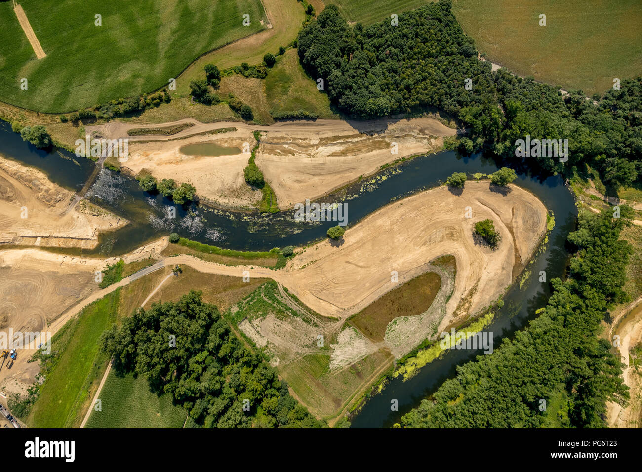 Restoration of theriver Lippe the outside in the area of city limits Olfen and dates, to Krähenbusch, project Lippeverband, dates, Ruhr area, North Rh - Stock Image