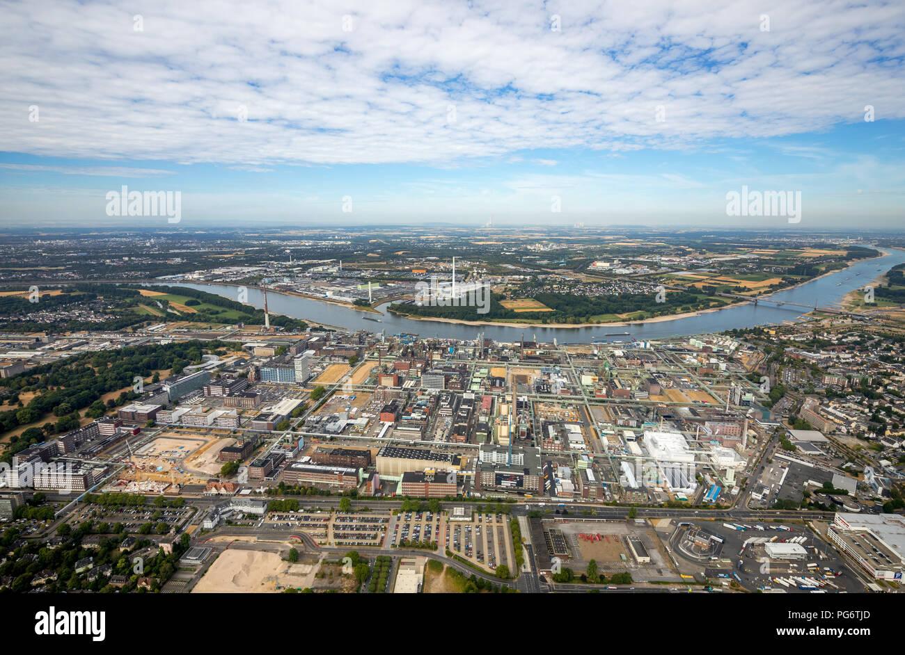 Bayer AG Plant, Rhine, pharmaceutical companies, Manfort, LANXESS Aktiengesellschaft, chemical plant, Leverkusen, Rhineland, North Rhine-Westphalia, G - Stock Image