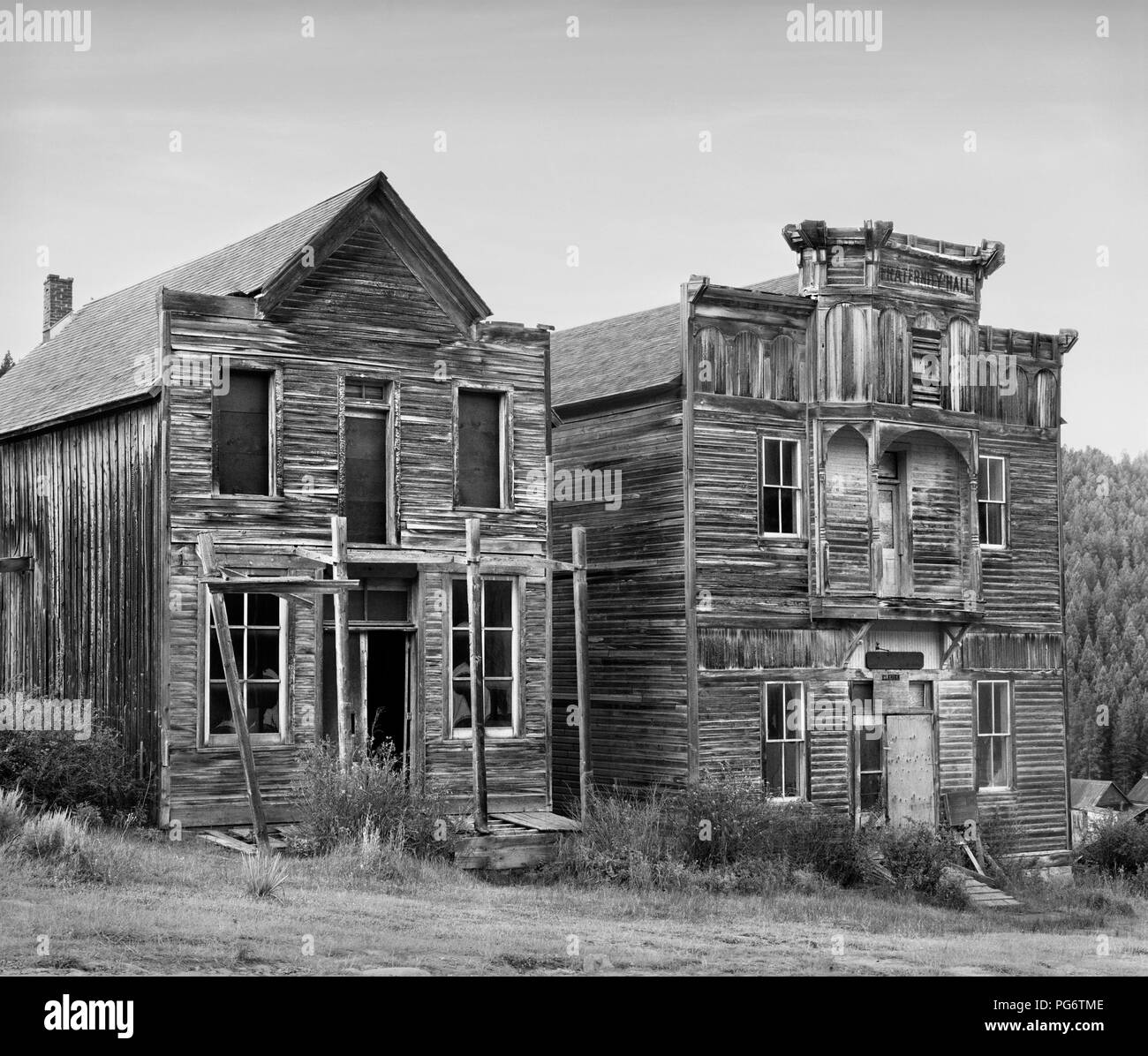 Gillian Hall and Fraternity Hall in Elkhorn ghost town, Montana, the United States. - Stock Image