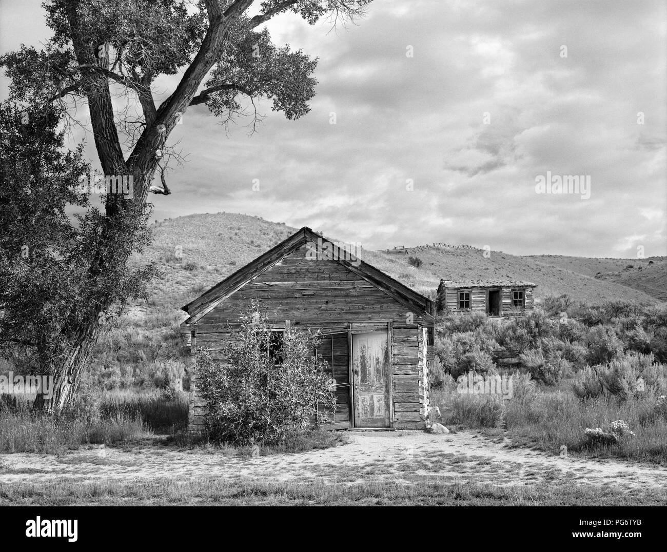 Houses in the ghost town of Bannack in Montana, the United States - Stock Image