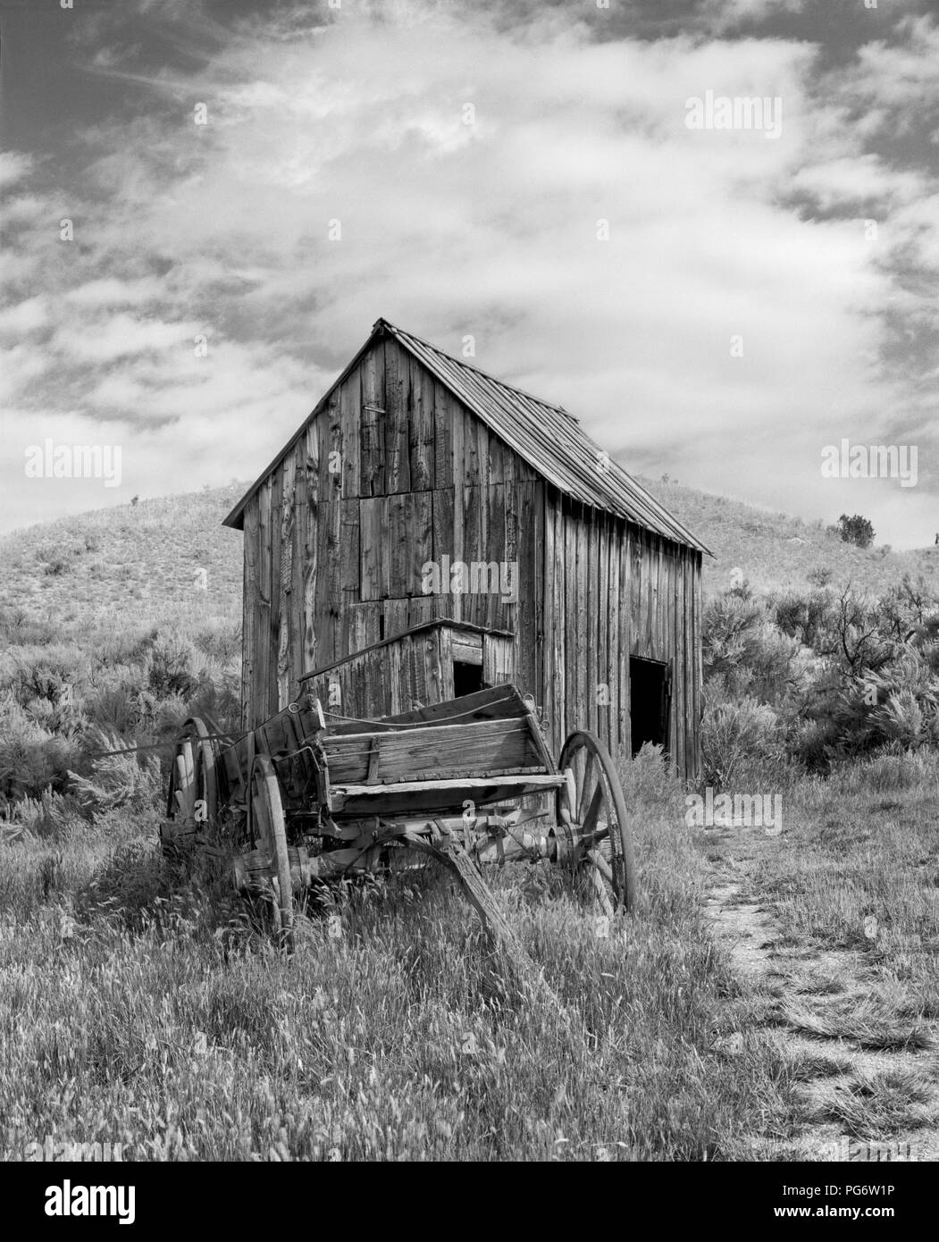 Wagon and barn in Bannack ghost town, Montana, United States - Stock Image