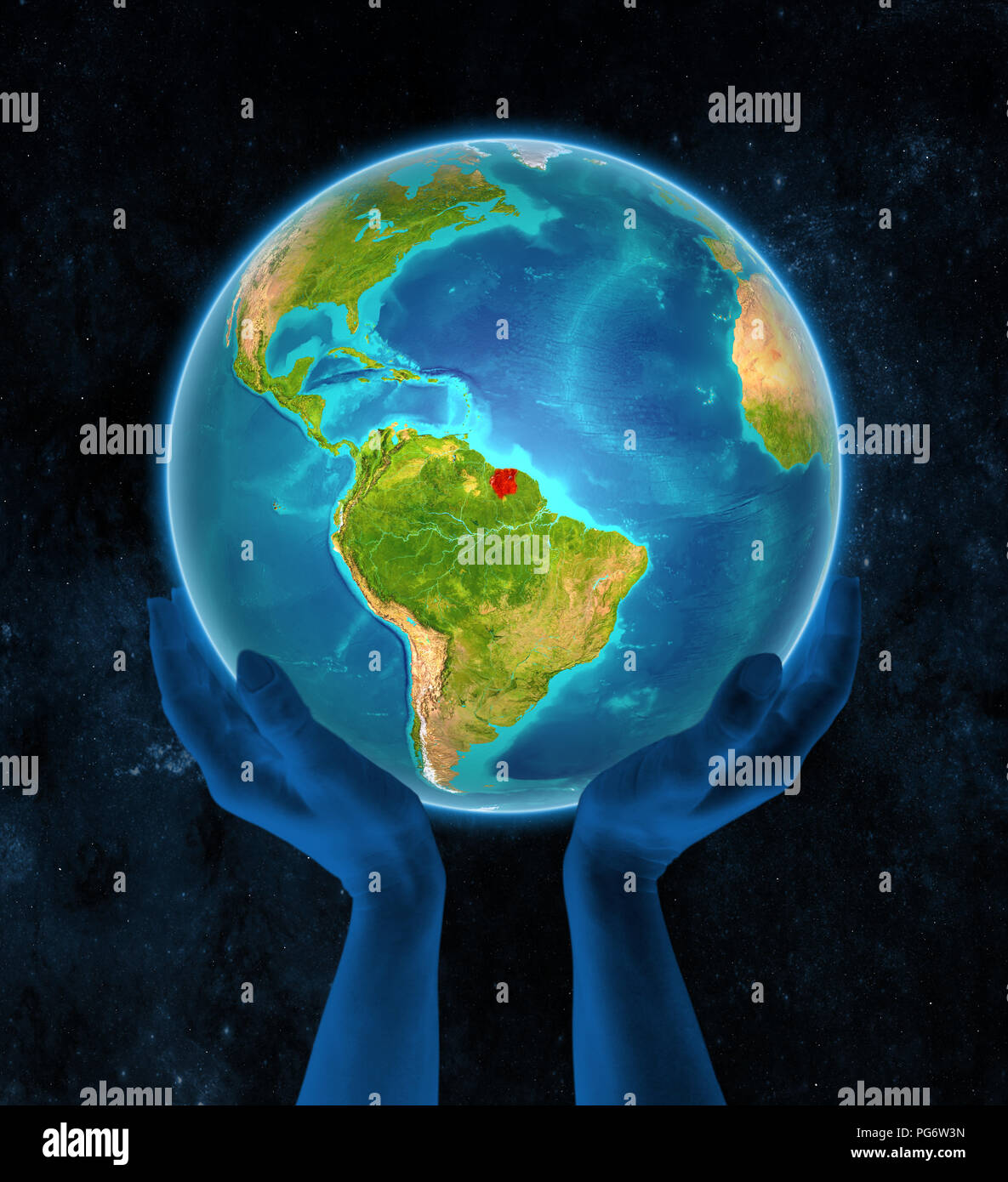 Suriname in red on globe held in hands in space. 3D illustration. - Stock Image