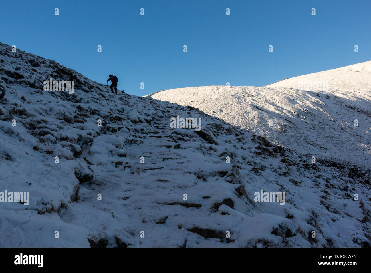 Hillwalker ascending steep ground over snow and ice in the Mourne Mountains. - Stock Image