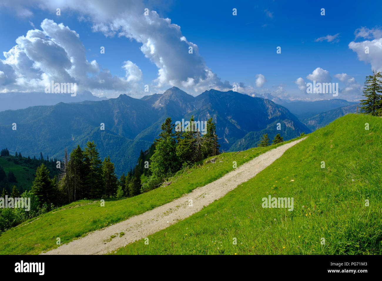 Germany, Bavaria, Upper Bavaria, Ruhpolding, Chiemgau, View from Rauschberg to Sonntagshorn - Stock Image