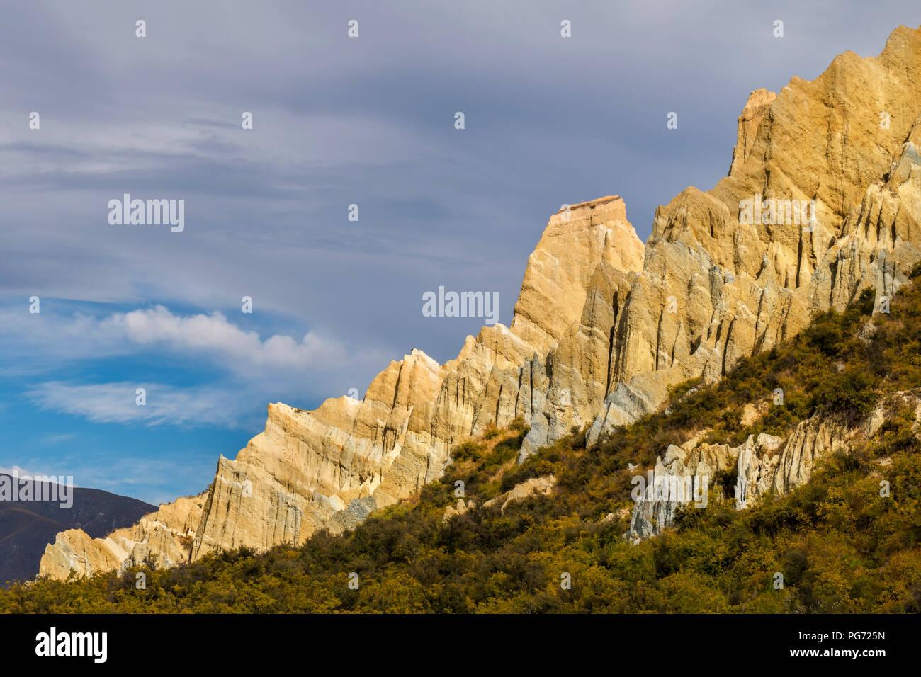 New Zealand, South Island, Omarama, Clay Cliff - Stock Image