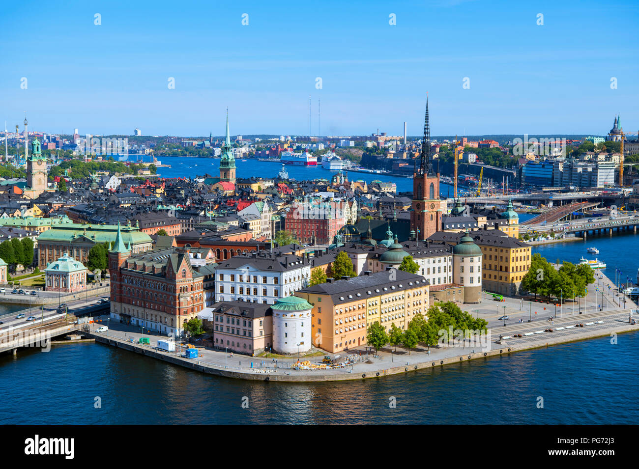 Aerial view of Riddarholmen and Gamla Stan (Old Town) from the Tower of Stockholm City Hall (Stadshuset), Kungsholmen, Stockholm, Sweden - Stock Image