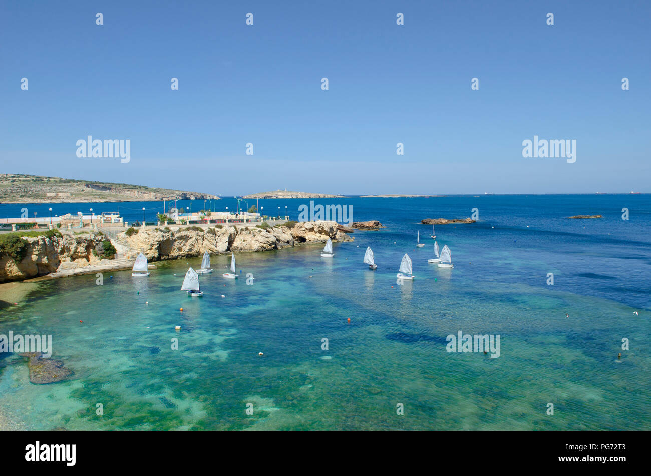 Malta Beach front  Valletta City Malta Seascape - Stock Image