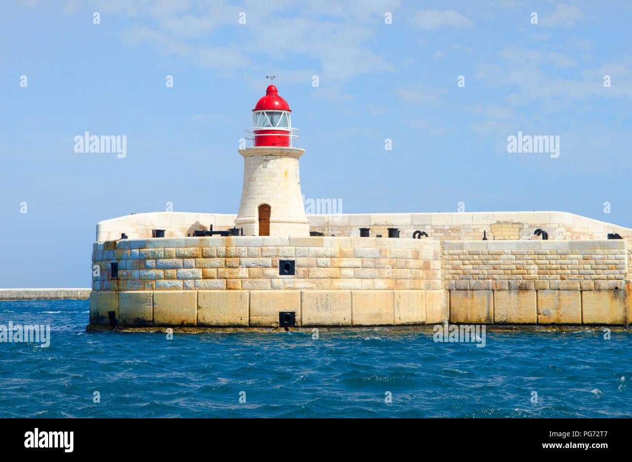 Malta  Valletta Harbour lighthouses City Malta Seascape - Stock Image