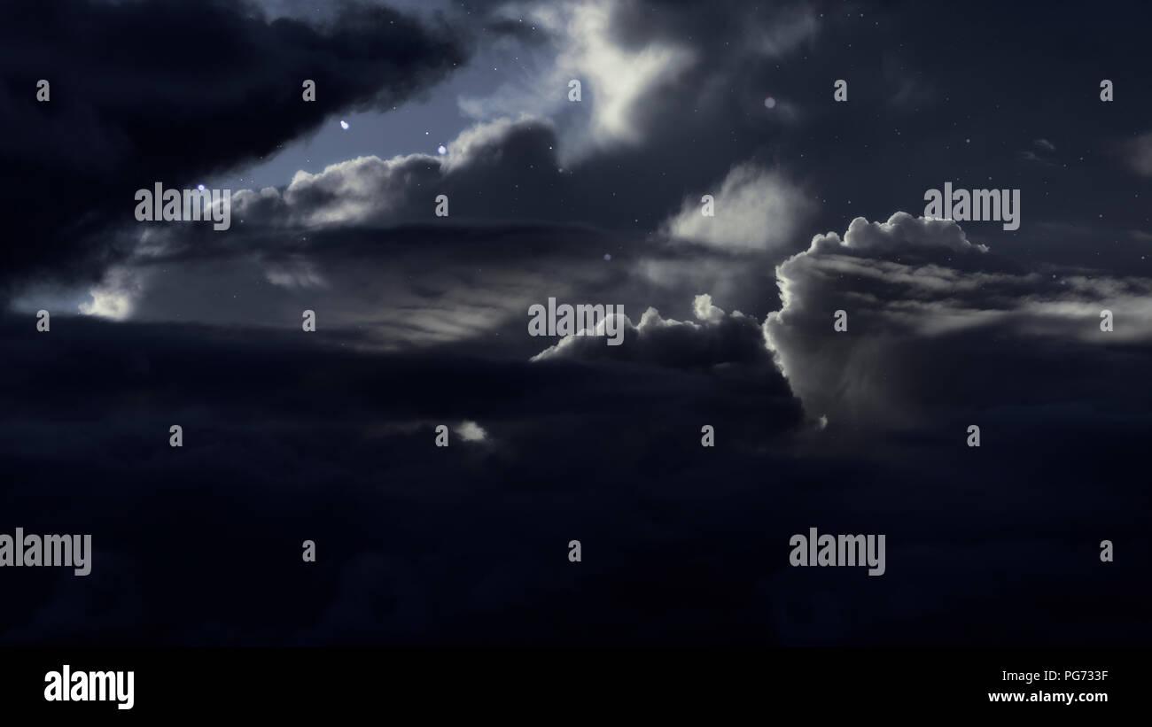 Cloudy Night Sky Stars Shooting Star Night Sk...