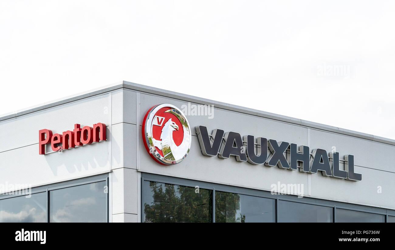 Vauxhall car dealer name and logo - Stock Image