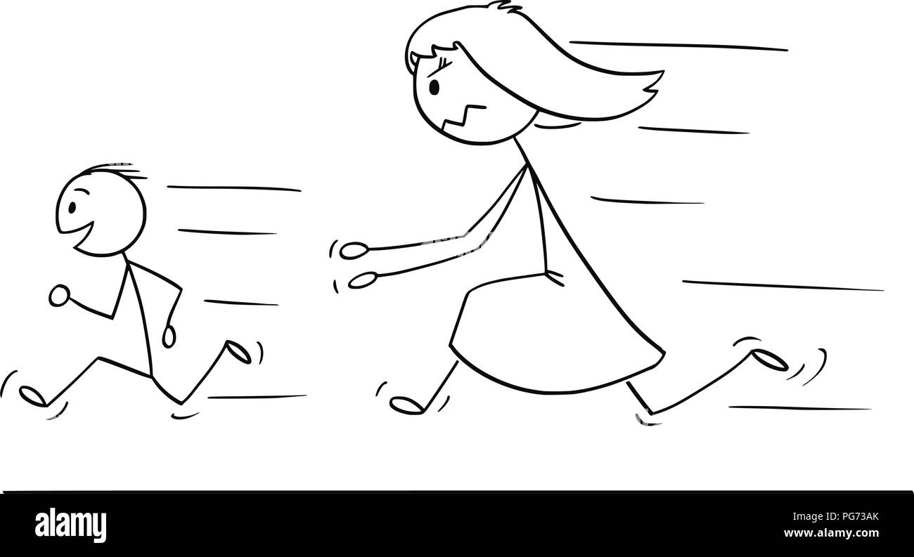 Cartoon of Frustrated and Angry Mother Chasing Naughty or Disobedient Son - Stock Image
