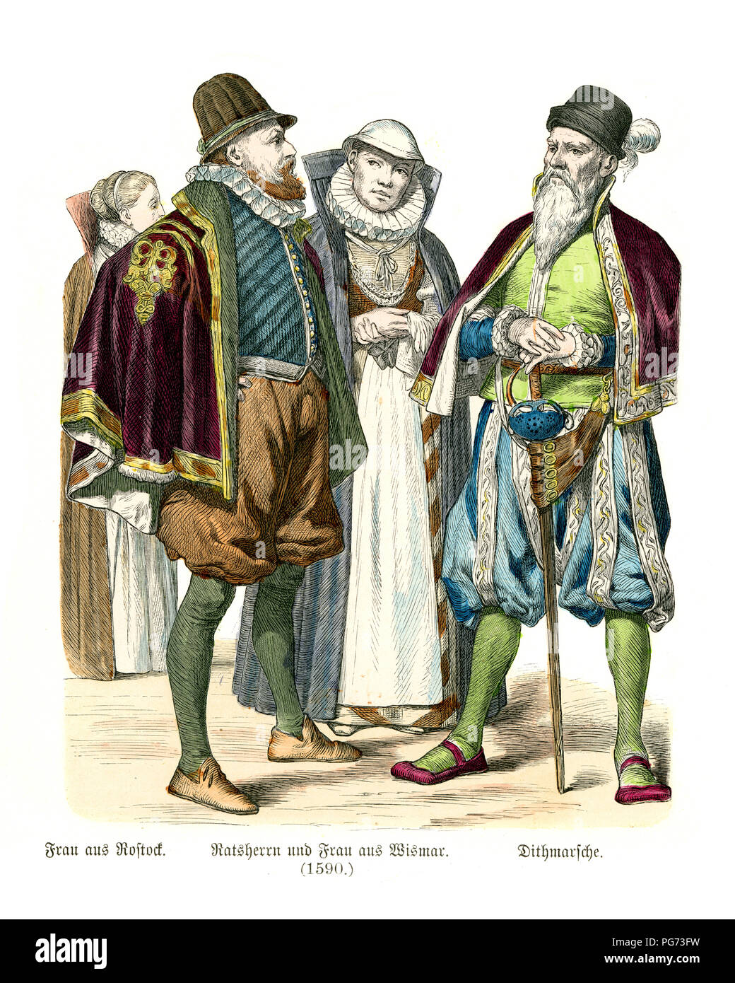 Fashion of  late 16th Century Germany.  Woman of Rostock, Senator and wife of Wismar and man of Dithmarschen - Stock Image