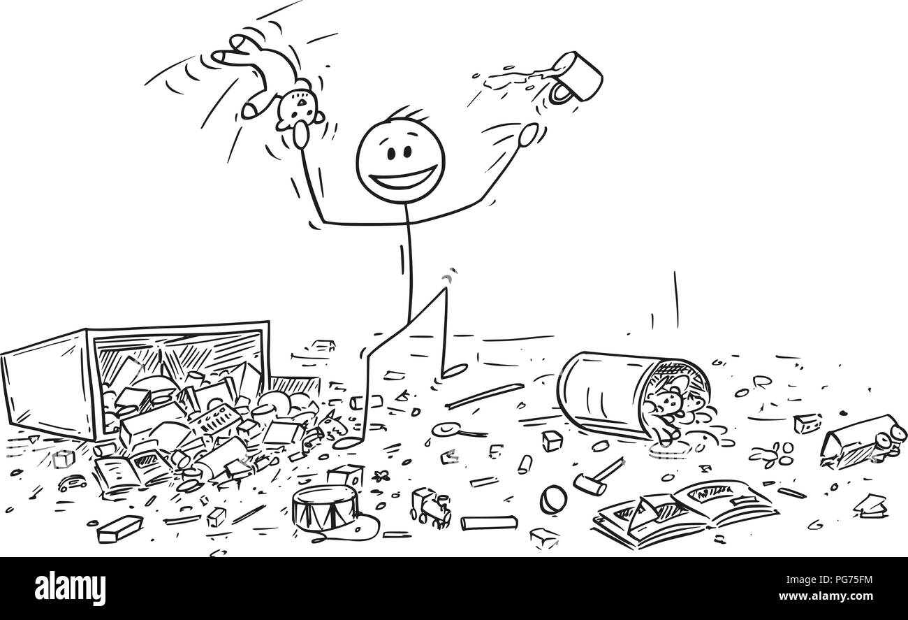 Cartoon of Naughty or Disobedient Little Boy Doing Mess - Stock Image