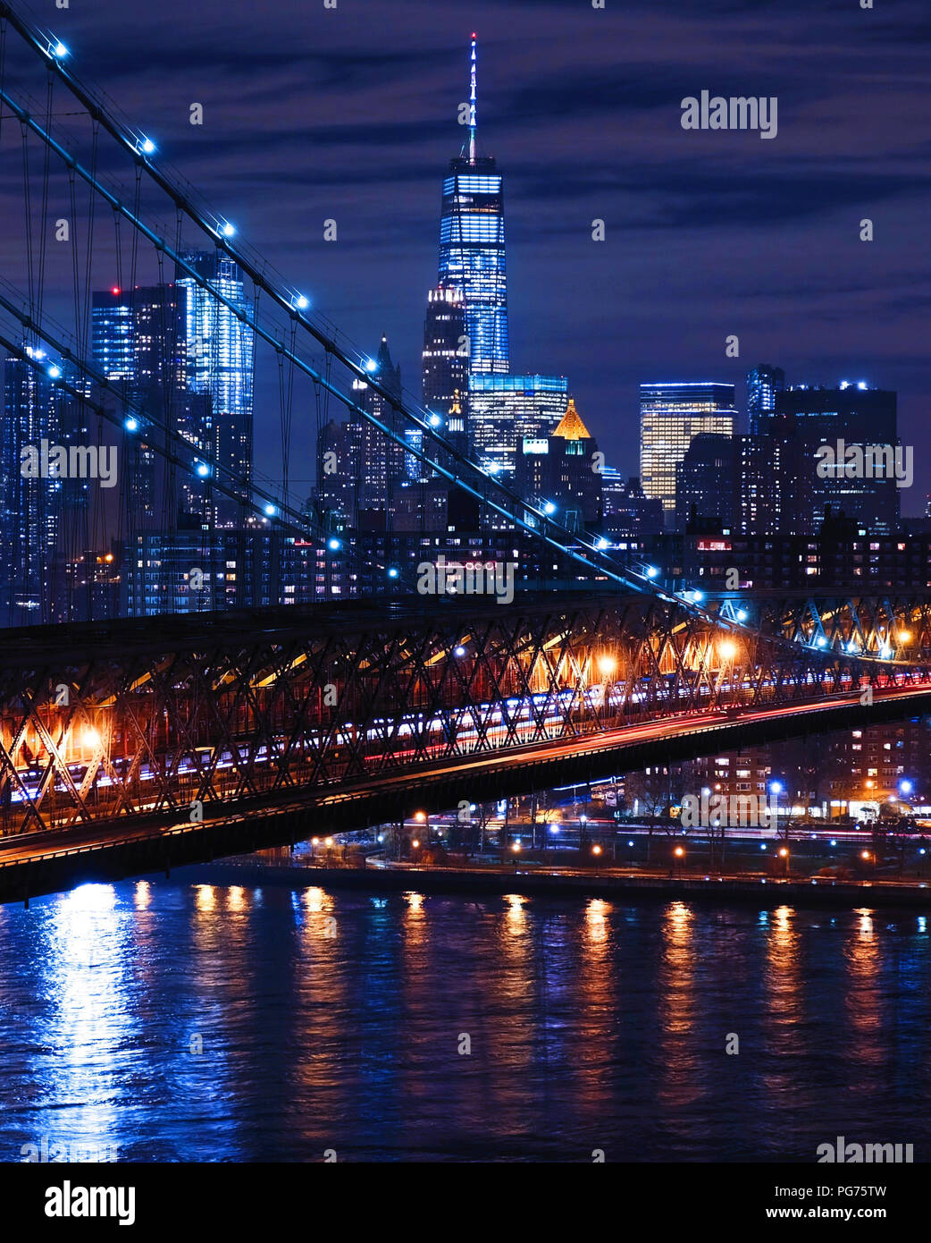 Night Time New York City Lights Stock Photo Alamy
