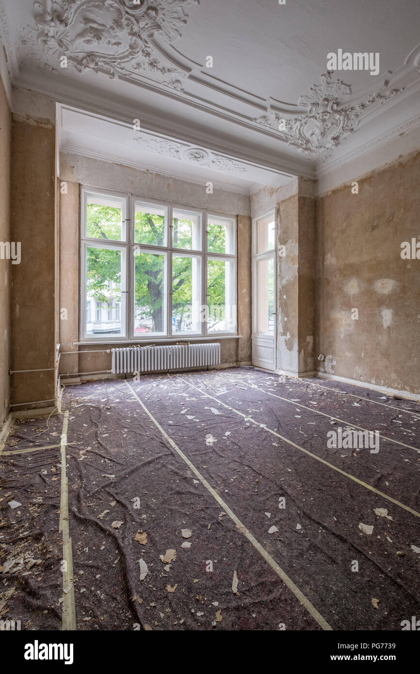 home renovation - old apartment room during restoration or refurbishment - Stock Image