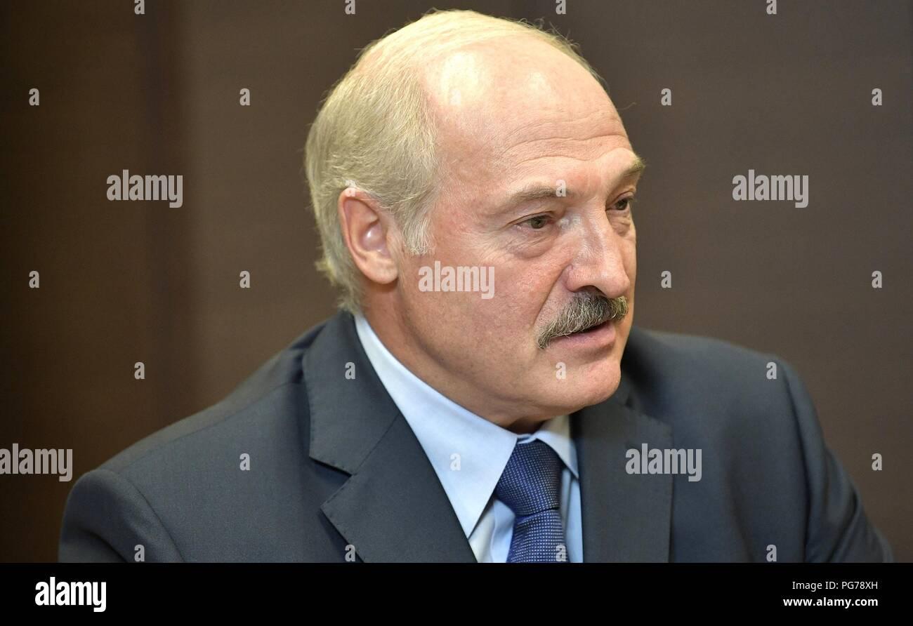 Belarus President Alexander Lukashenko during a bilateral meeting with Russian President Vladimir Putin August 22, 2018 in Sochi, Russia. - Stock Image