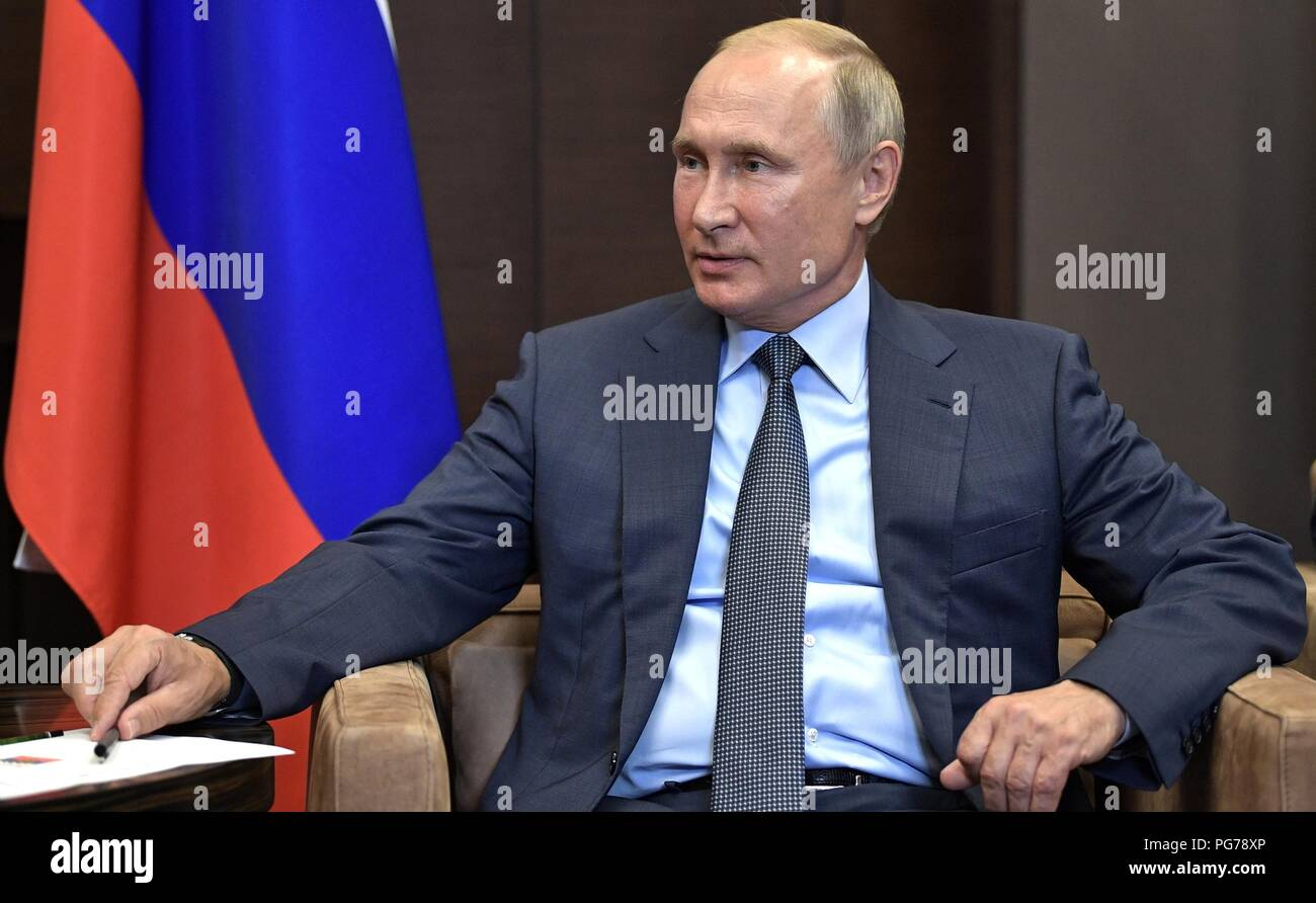 Russian President Vladimir Putin during a bilateral meeting with Finnish President Sauli Niinisto at his Black Sea vacation residence August 22, 2018 in Sochi, Russia. - Stock Image