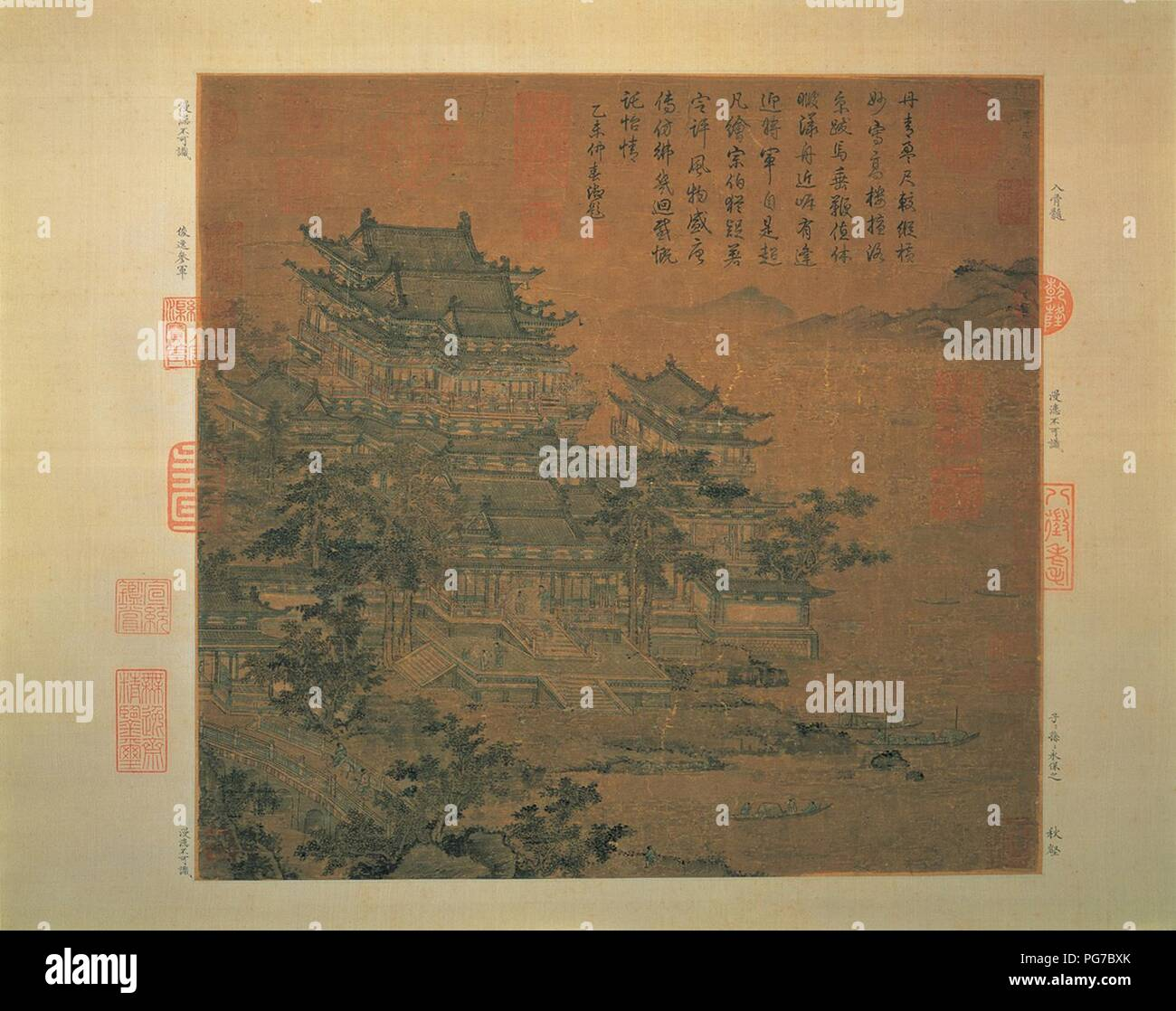 Attributed to Li Zhaodao The Loyang Tower 37.5 x 39.7 cm NPM Taipei. - Stock Image