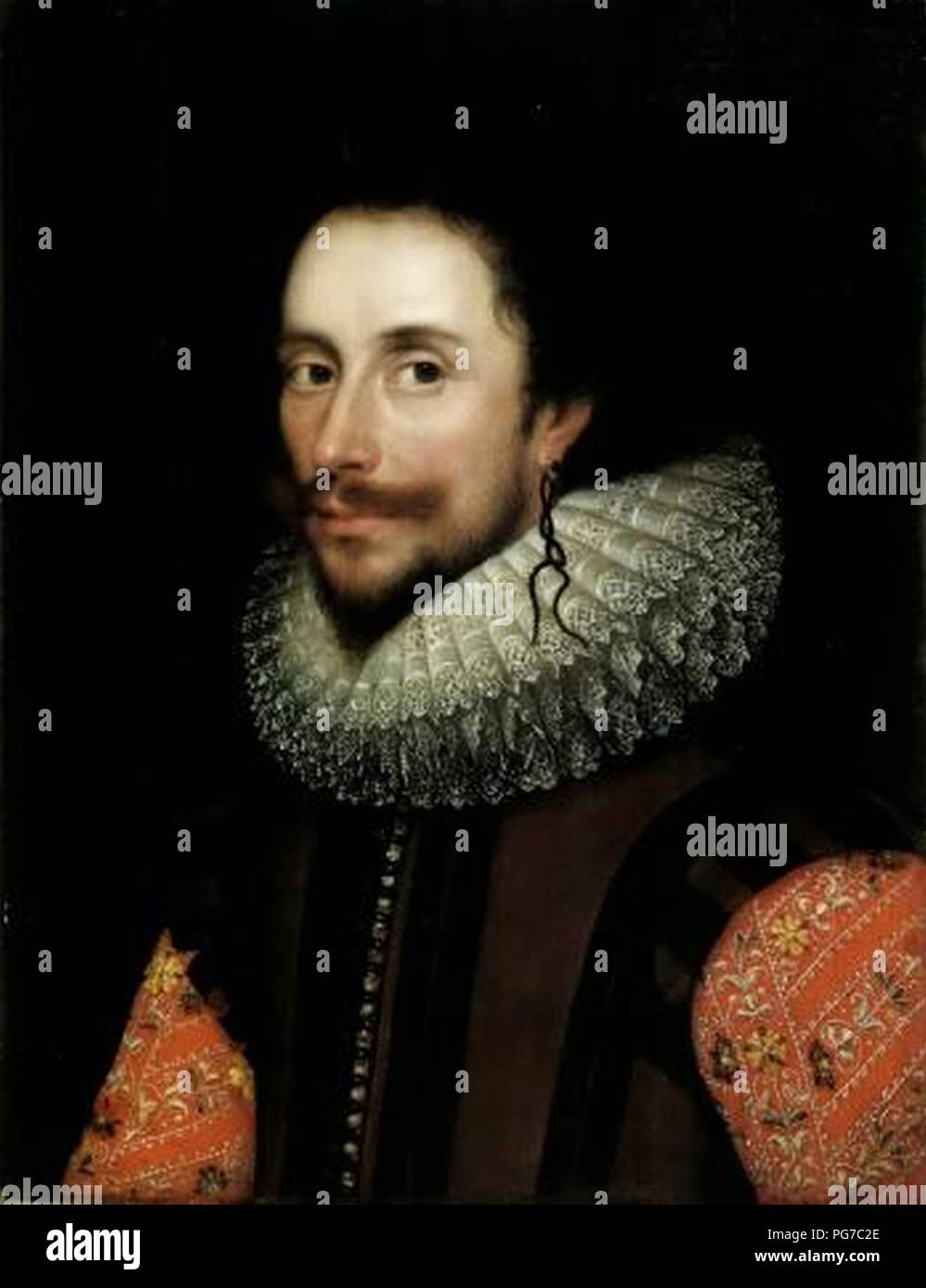 Attributed to William Larkin Portrait of a gentleman probably Sir Francis Nethersole. - Stock Image