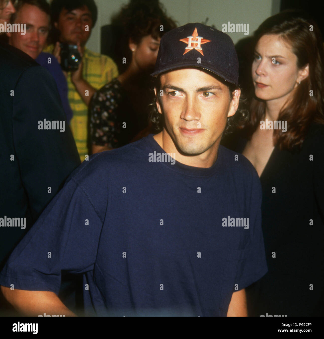 WESTWOOD, CA - AUGUST 03: Actor Andrew Shue attends Warner Bros. Pictures 'Unforgiven' Westwood Premiere on August 3, 1992 at Mann's Bruin Theatre in Westwood, California. Photo by Barry King/Alamy Stock Photo - Stock Image