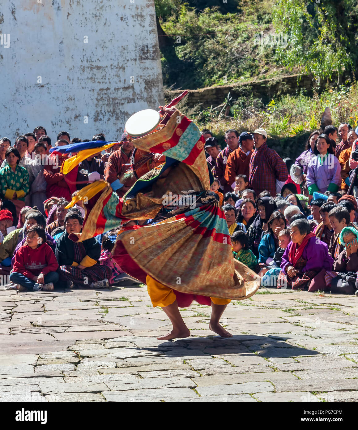Traditional festival in Bumthang, Bhutan - Stock Image