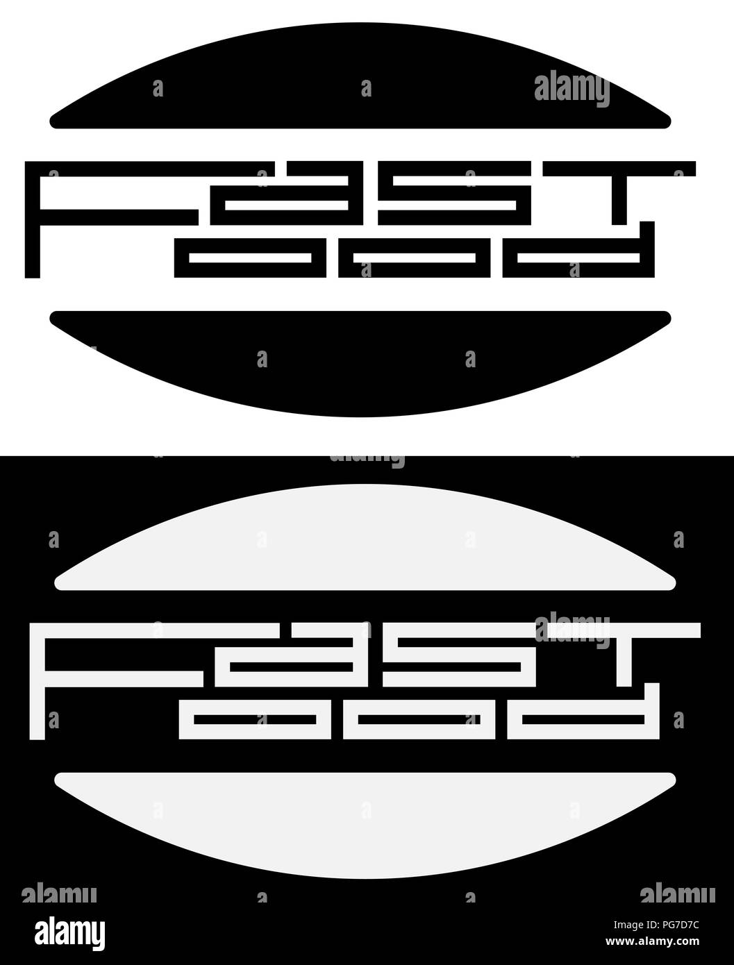 inscription fast food with halves of bun minimalism creative logo - Stock Vector
