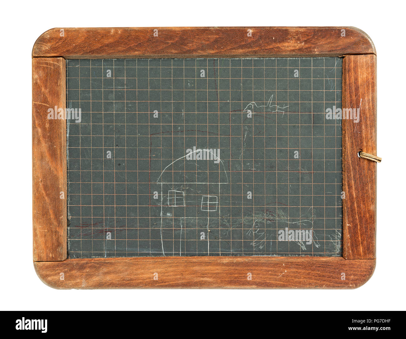 Old childrens blackboard framed with wood funny kids drawing, isolated on white - Stock Image