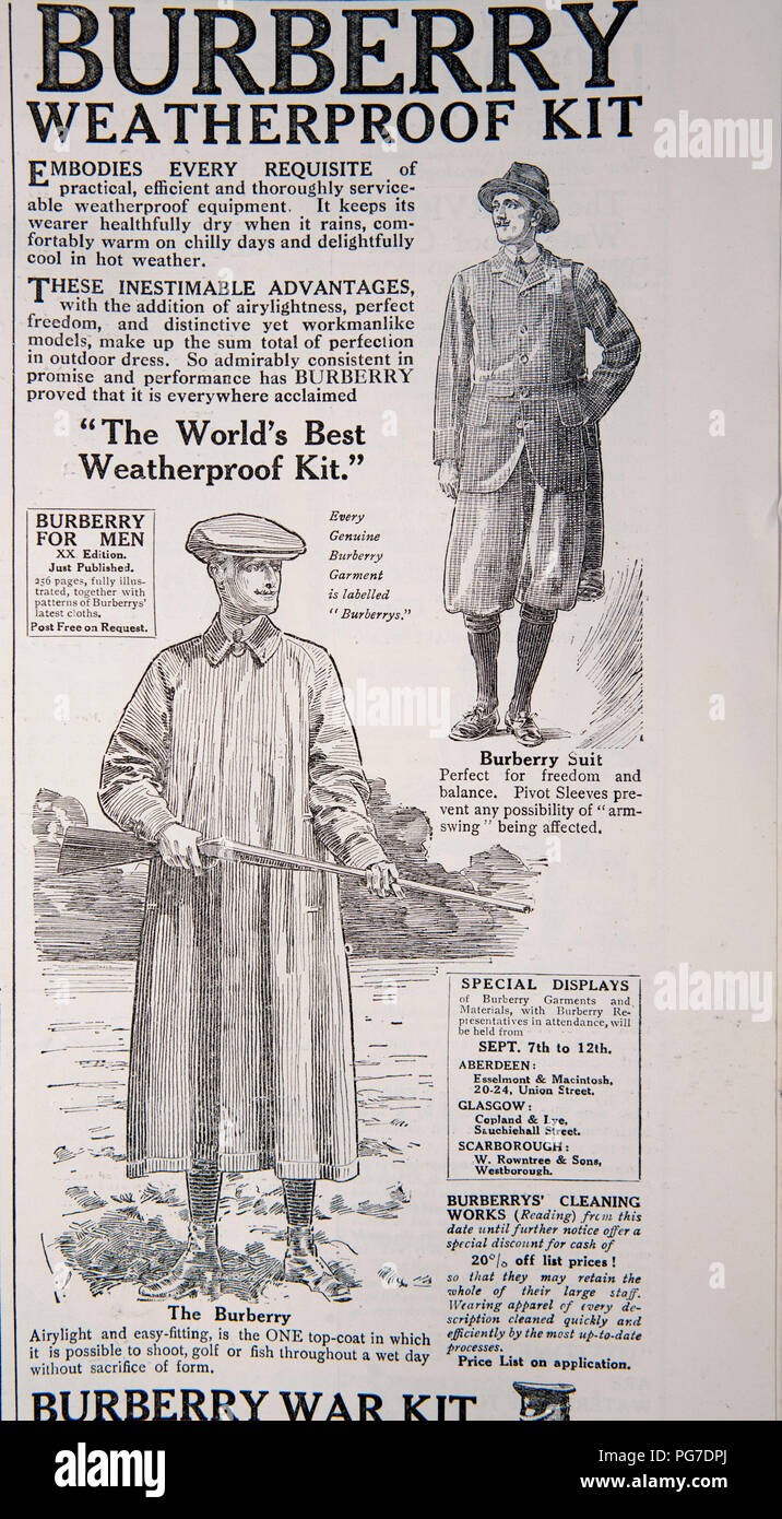 Burberry advert for weatherproof clothing. From a magazine from the 1914-1918 period. England UK GB - Stock Image