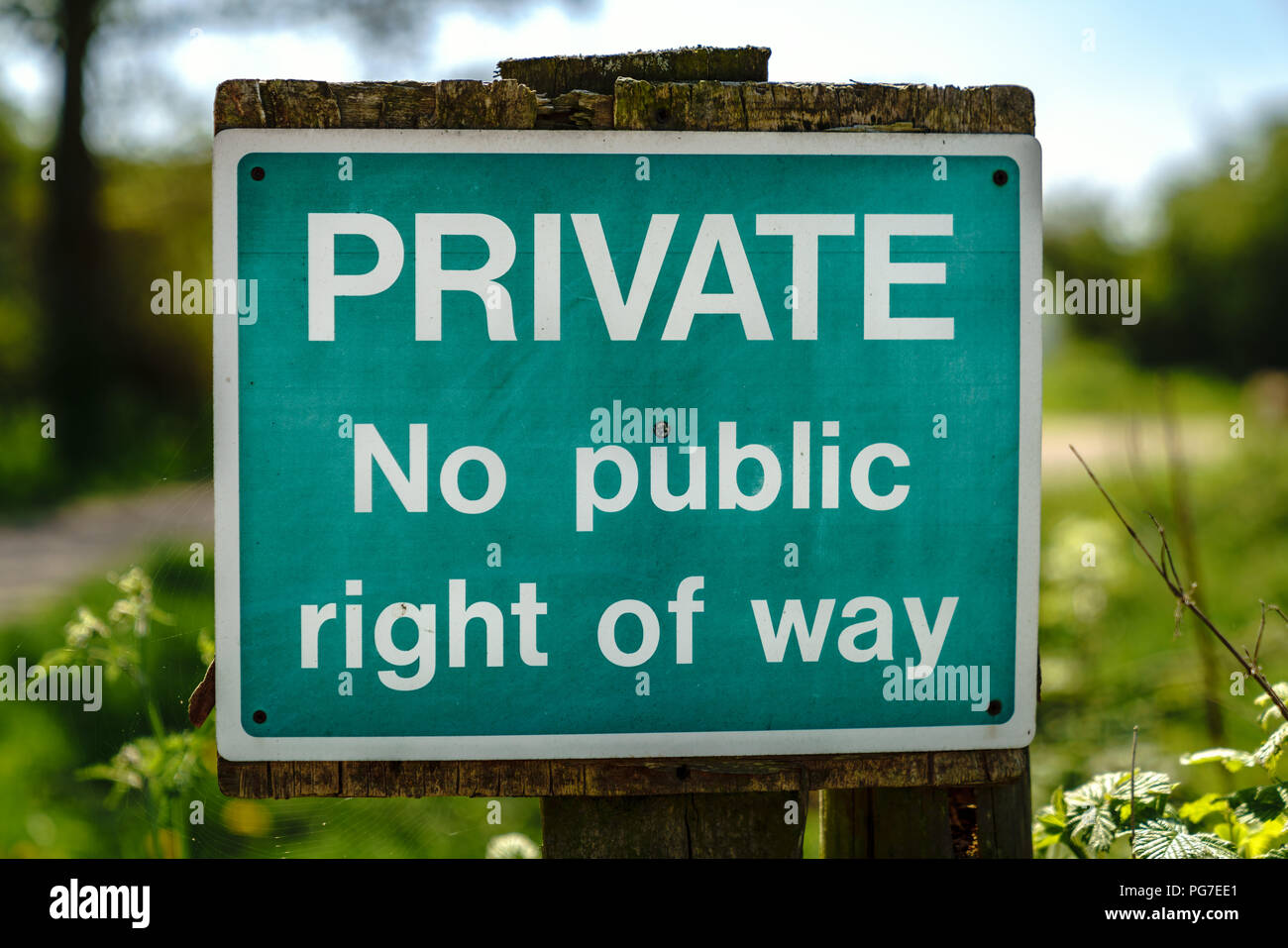 Sign: Private, no public right of way - seen near Bishop's Castle, Shropshire, England, UK - Stock Image