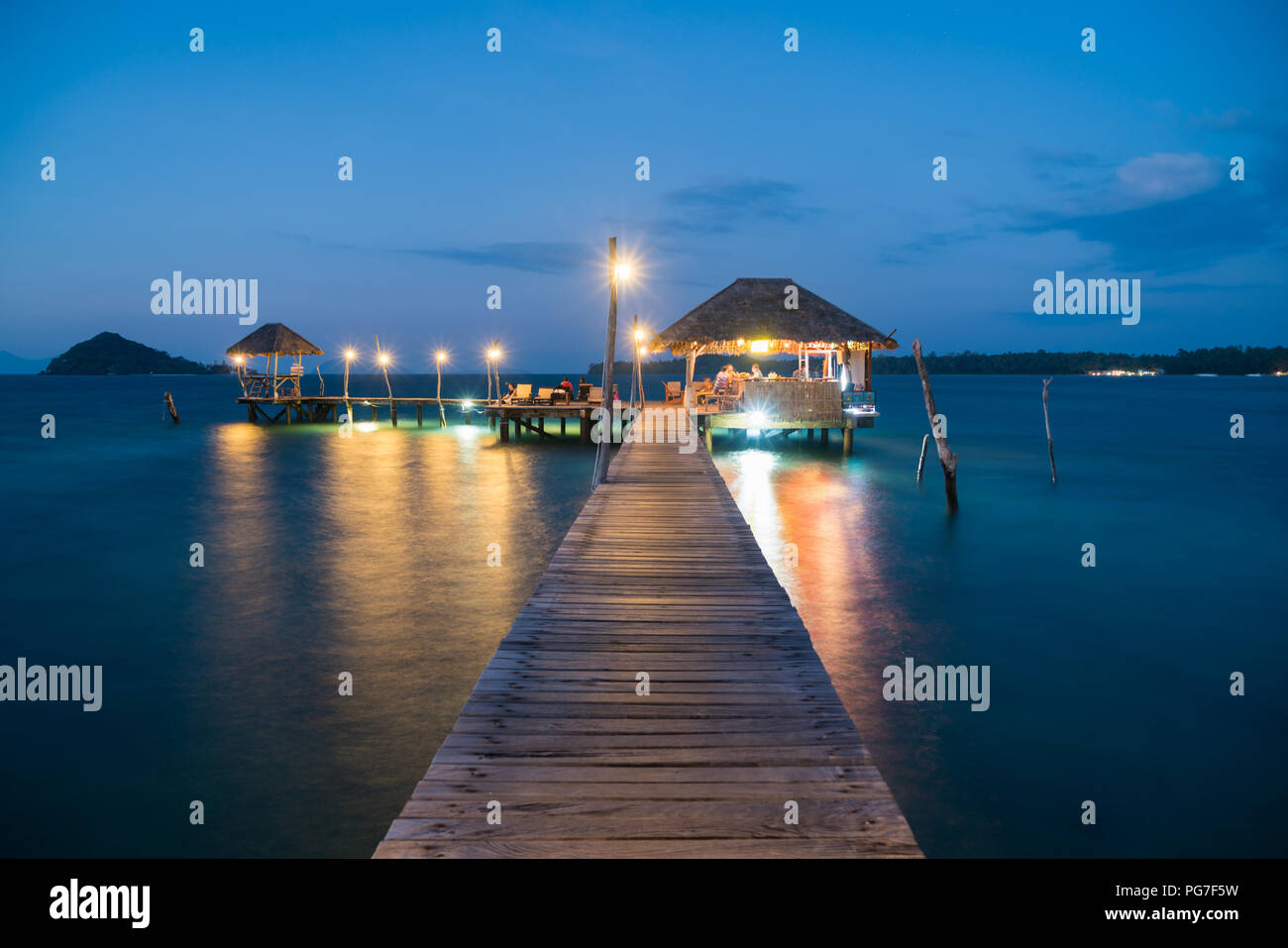 Wooden pier and hut in Phuket, Thailand. Summer, Travel, Vacation and Holiday concept. - Stock Image