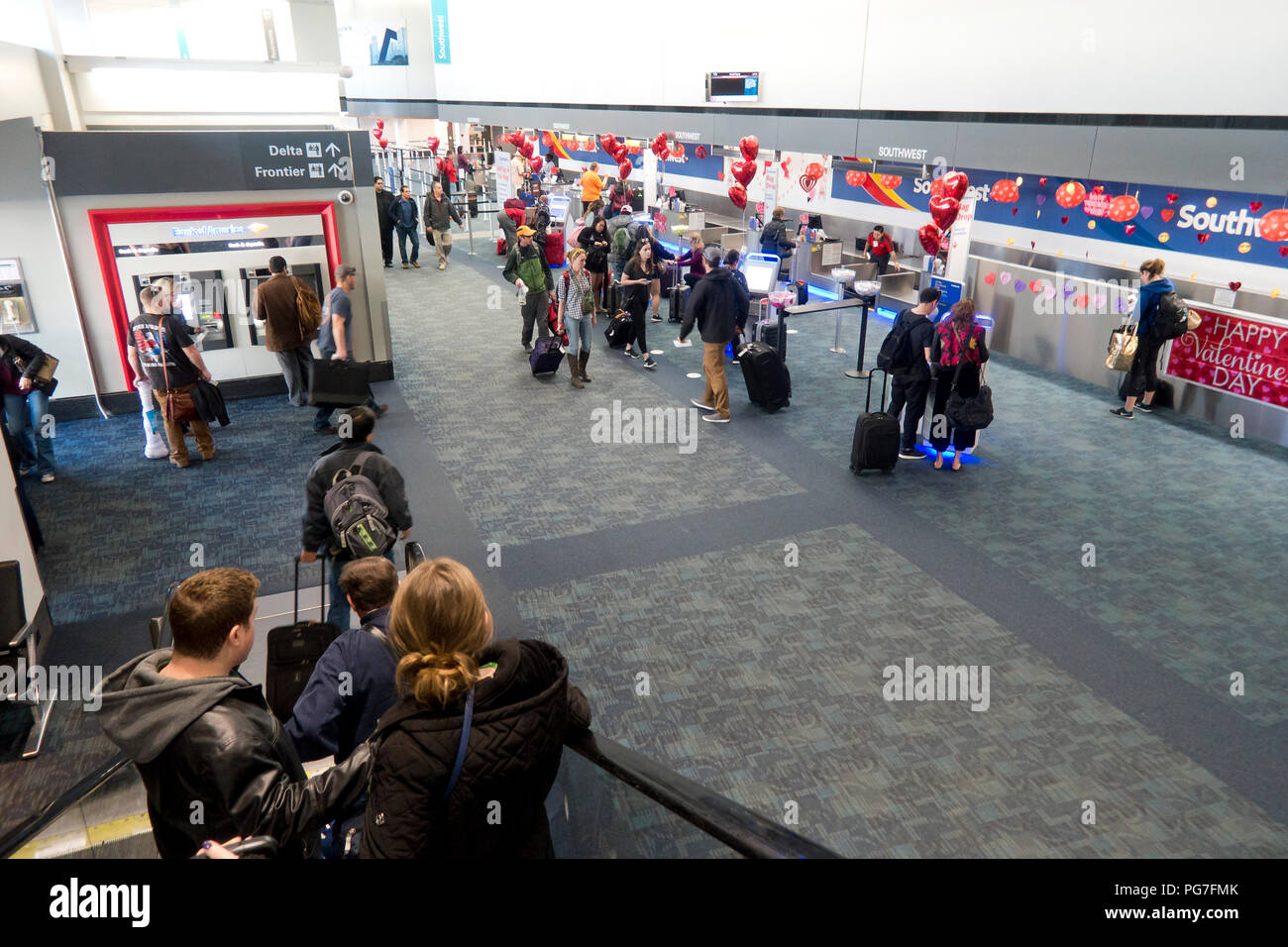 Southwest Airlines check in counters at San Francisco International Airport - San Francisco, California USA - Stock Image