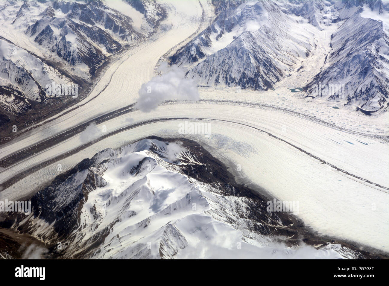 An aerial shot of the Kaskawalsh glacier in the icefields of the Saint Elias Mountains, Kluane National Park, Yukon Territory, Canada. - Stock Image