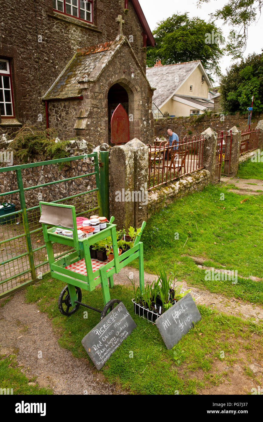UK, England, Devon, Dartmoor, Belstone village, home made produce stall outside old chapel, now tea room Stock Photo