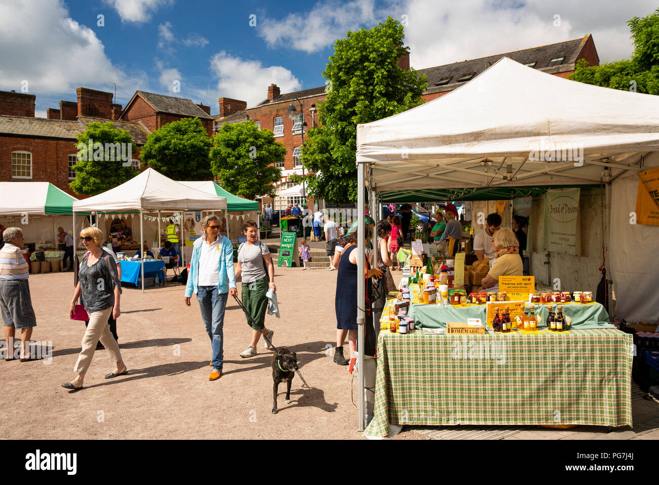 UK, England, Devon, Crediton, Market Square, twice monthly Farmers Market in progress Stock Photo