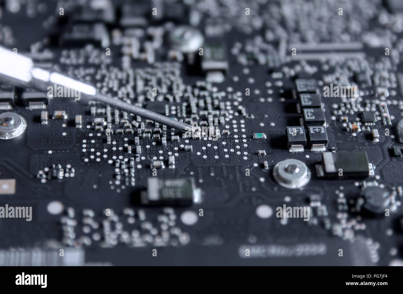 Close Up Of Circuit Board And Electronic Computer Hardware Repair Repairing Technology Laptop Control Panel Motherboa
