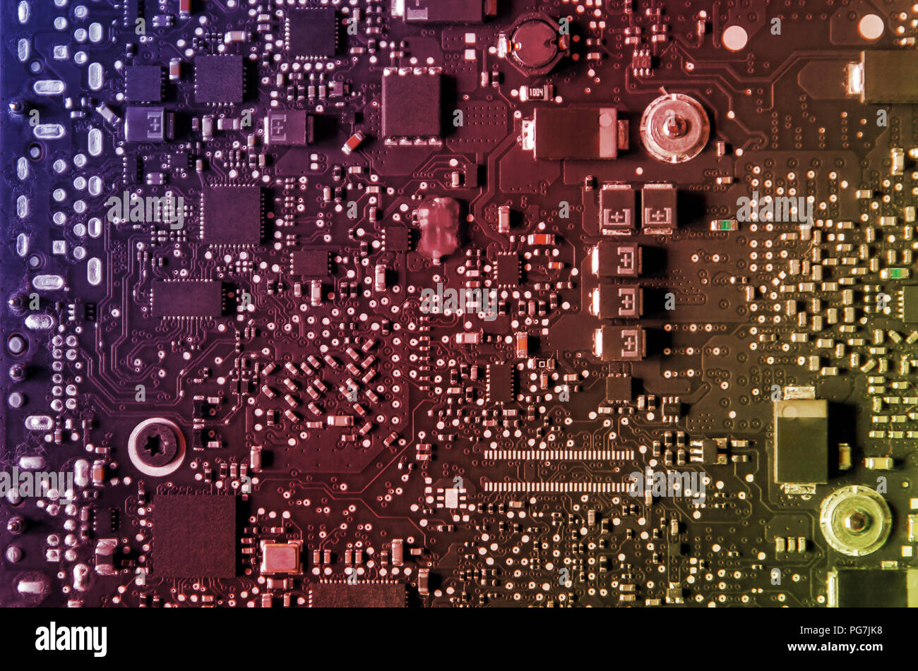 Close-up of circuit board and electronic computer hardware, Repairing technology of computer and laptop, Repair of electronic control panel, motherboa - Stock Image