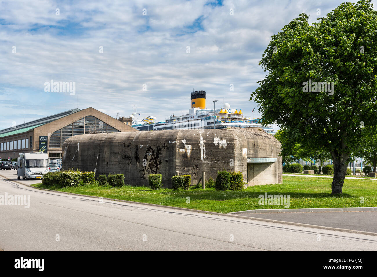 Cherbourg-Octeville, France - May 22, 2017: Historical military defense WW2 (II World War) bunker in the port of Cherbourg-Octeville, Normandy, France - Stock Image