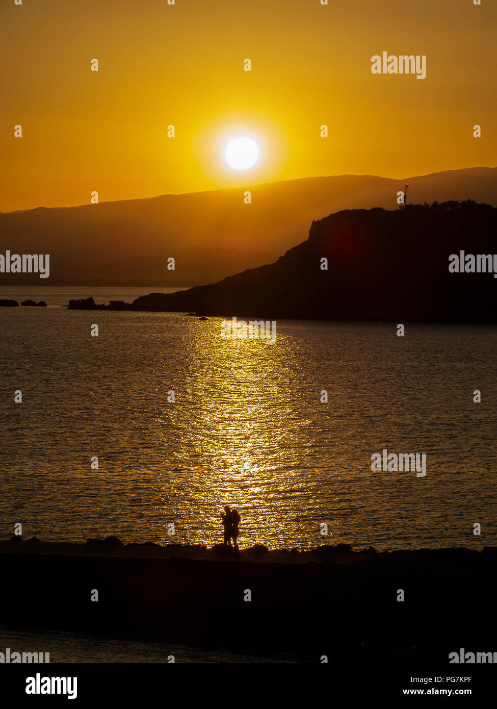 beautiful and romantic summer sunset, in backlight on the