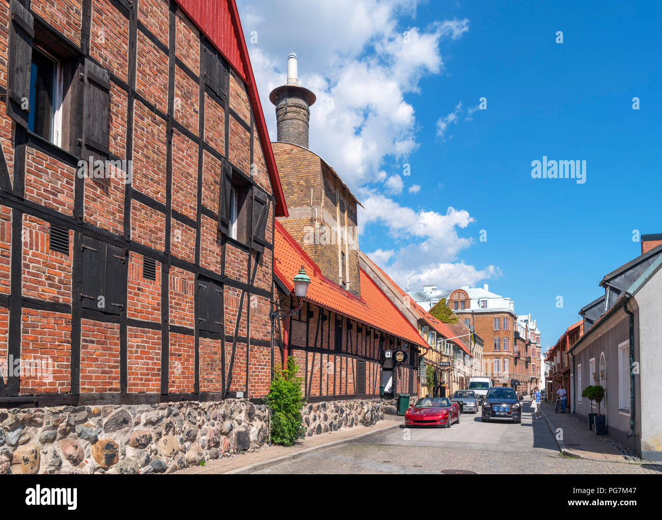 Traditional houses in the old market town of Ystad, Scania, Sweden - Stock Image