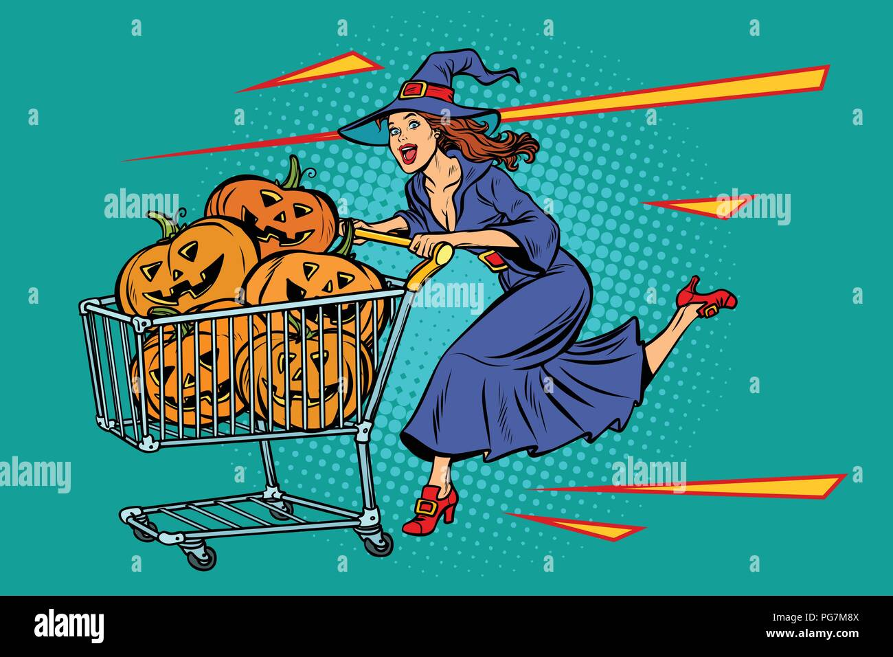 Halloween witch pumpkins. shopping cart trolley sale - Stock Vector