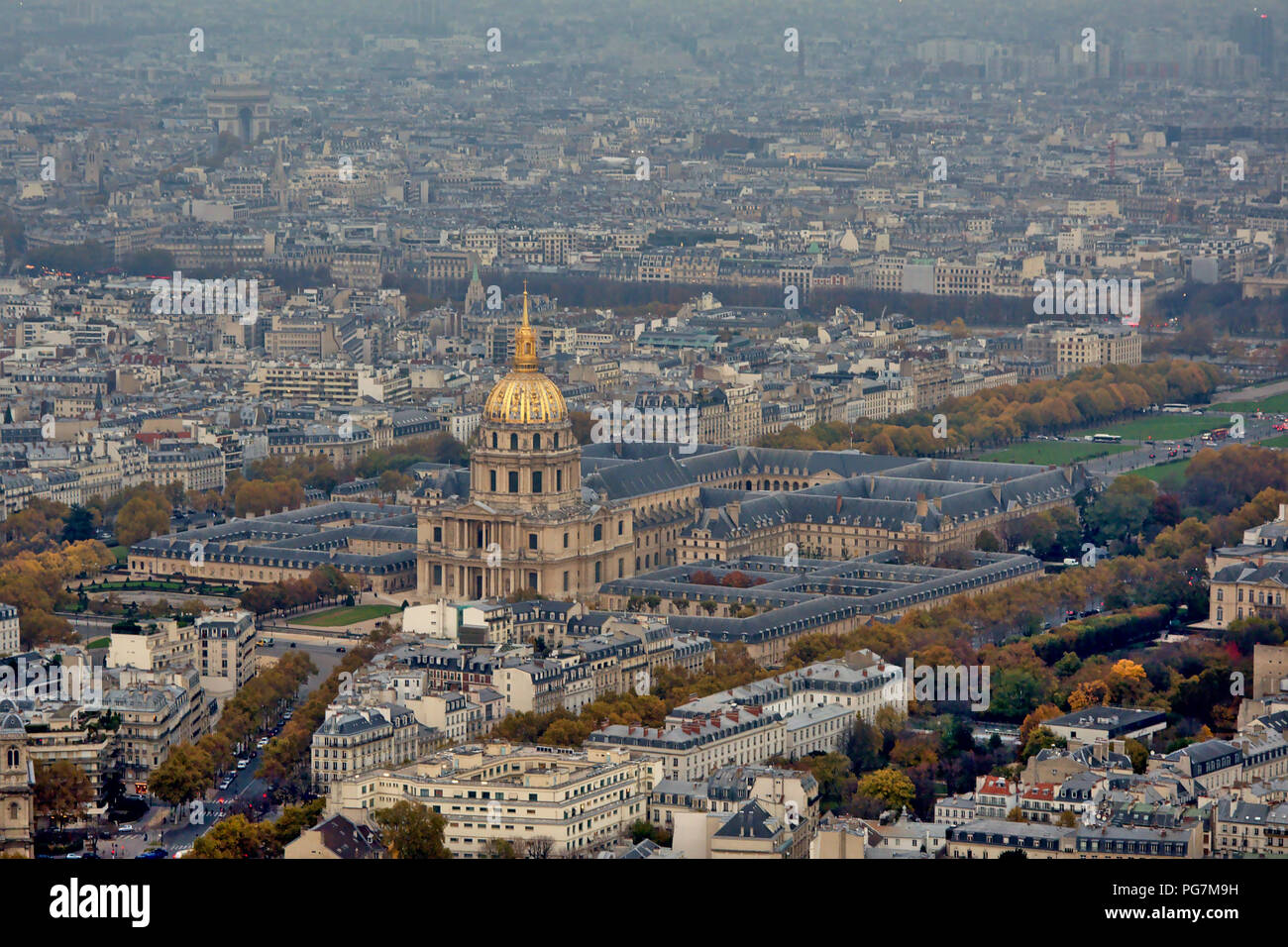 Aerial view on the National Invalides Hotel with Saint-Louis cathedral with golden cupola. Paris, France - Stock Image
