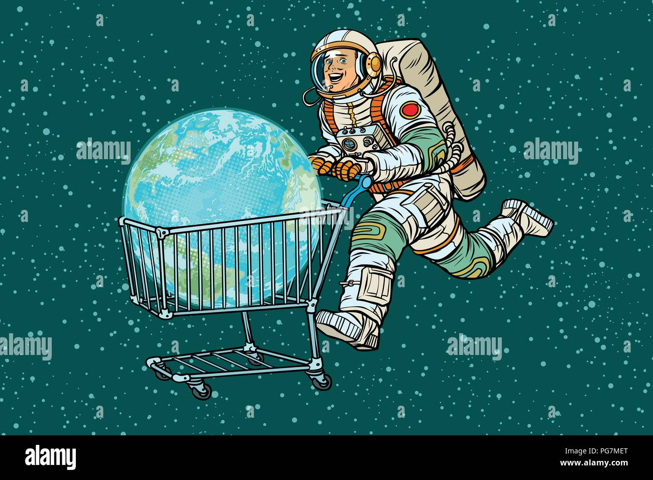 planet earth bought by astronaut, shopping cart trolley sale - Stock Vector