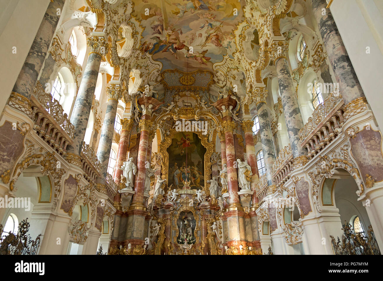 chancel, Wieskirche (Pilgrimmage Church of Wies) near Steingaden, Allgaeu, Bavaria, Germany - Stock Image