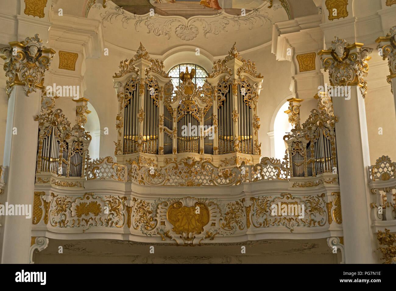 organ front, Wieskirche (Pilgrimmage Church of Wies) near Steingaden, Allgaeu, Bavaria, Germany - Stock Image
