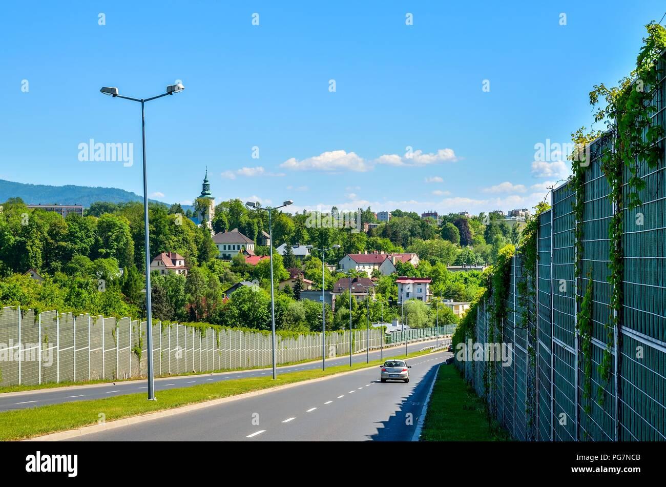 BIELSKO-BIALA, POLAND - MAY 13, 2018: View of the city of Bielsko-Biala in Poland. - Stock Image